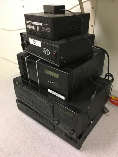 Ame-2020 box system, PA25S amplifier, Envysion box, RCA cassette deck, Teac stereo tuner