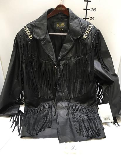 New Scully Leather Jacket with tags size 48 hand laced, bead trim black jacket