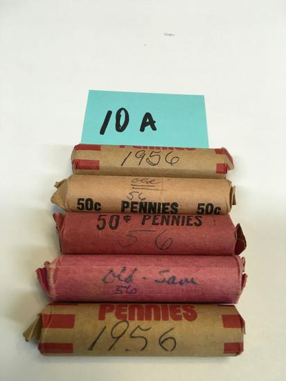 5 rolls of 1956 pennies cataloged by previous owner
