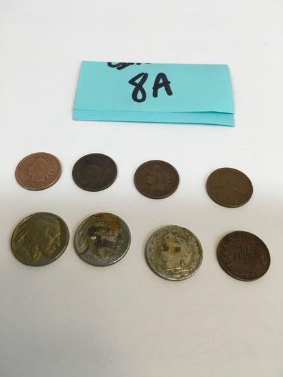 Indian Head Pennies / Buffalo Head Nickels & Assorted coins