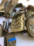 Military field equipment.Titan vest, Large gloves, ammo pouches and cleaning tools