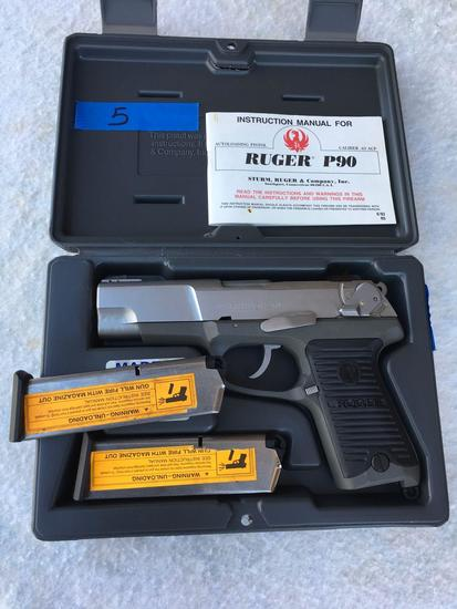 Firearms: Ruger P90 pistol. .45 ACP caliber. Serial # 660-76525. 2 clips ( NOT FOR SALE IN CALIF. )