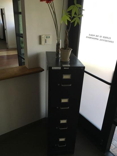 4 drawer File cabinet and vases