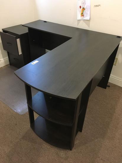 Computer desk and two drawer cabinet