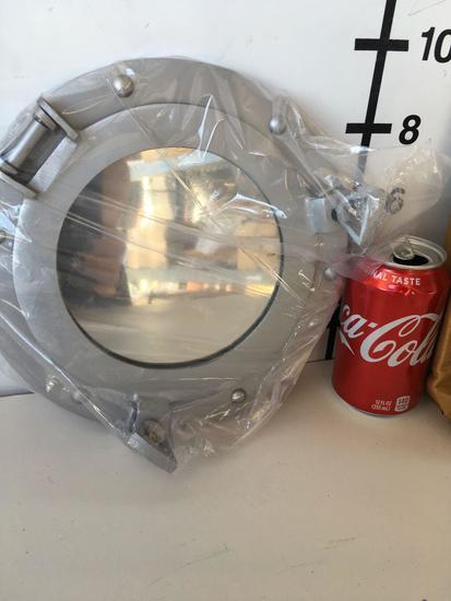 """New Nautical 9"""" aluminum finish , mirrored Porthole"""