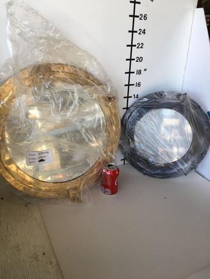 """New Nautical. 1) 20"""" mirrored gold finish 1) 15"""" Porthole deco"""