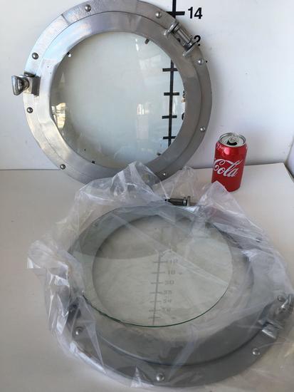 "New Nautical 15"" silver finish portholes. 4 pieces"