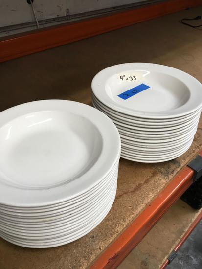 "9"" Syracuse soup bowls. 33 pieces"