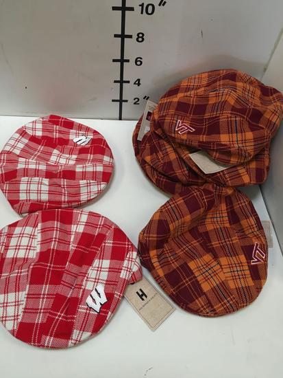 New. Driver hats. 2 red/ white 6 burgundy/ orange. M/L size