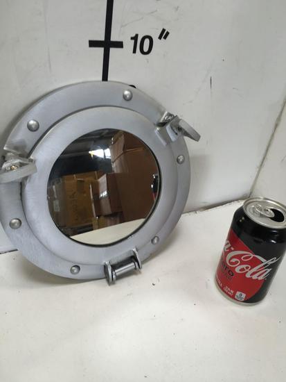 "New nautical. 9"" silver finish mirrored portholes"