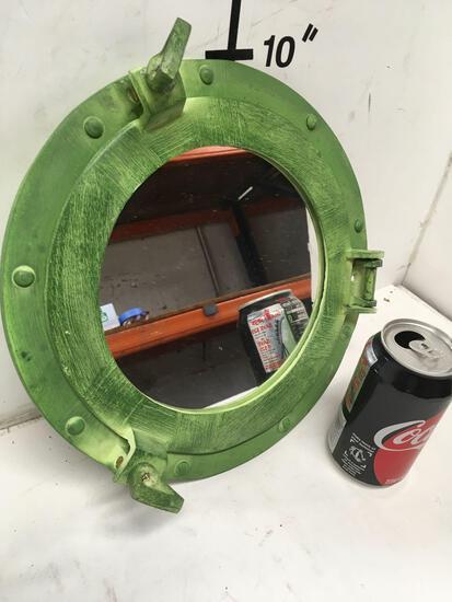 "New nautical 11"" green, mirrored portholes"