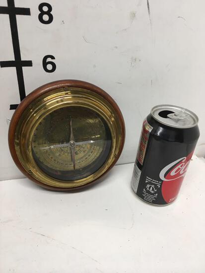 """New nautical 6"""" brass finish wood base compass"""