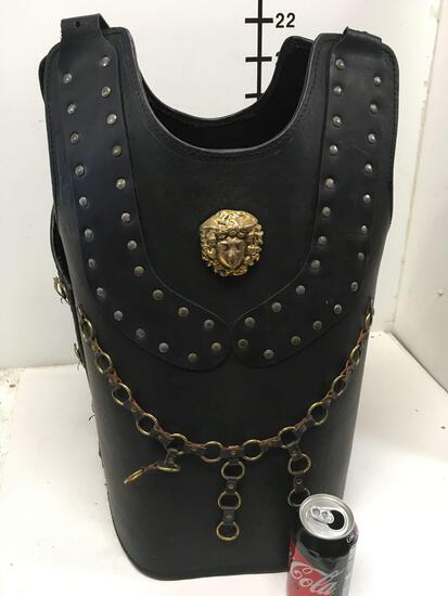 New leather like warrior vest with gold lion/accents size fits most