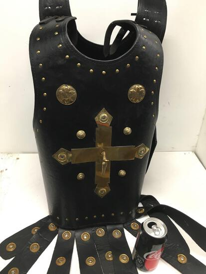 New leather like warrior vest with gold horse/cross/accents size fits most