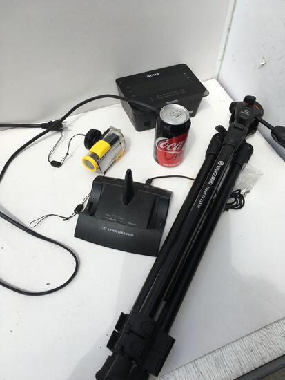 Vanguard tri pot, wearable camera missing parts, Sony clock and wireless Sennheiser