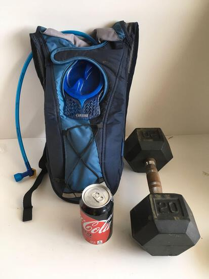Camelbak water bag and 20 lbs dumbbell