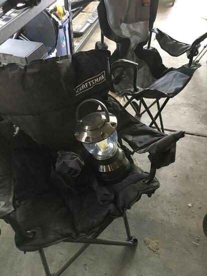 Lot. Craftsman, Coleman camping chairs and GE lantern.
