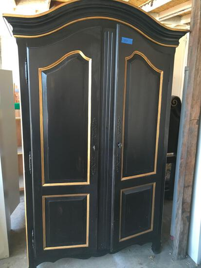 Drexel Heritage black with gold color accents TV armour with 7 drawers and 2 jewelry drawers,