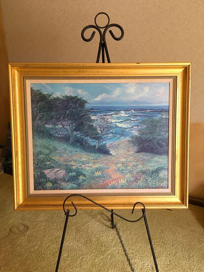 Signed George J Bleich, has long message in the back, oil on canvas, framed art.