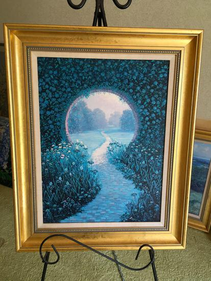 "Signed George J Bleich, has message in the back,oil on canvas, framed art, approximately 31"" x 25"""