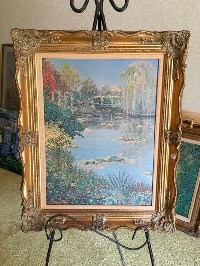 Signed George J Bleich 1983 ,oil on canvas, framed art.