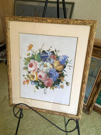 "Signed Joseph Stella, ""Flour Grouping"",framed art. Comes with newspaper cut of artist"