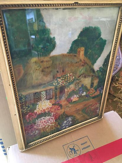 "Signed Martha , has message in the back with date of 1933, framed art approximately 14"" x 18"""