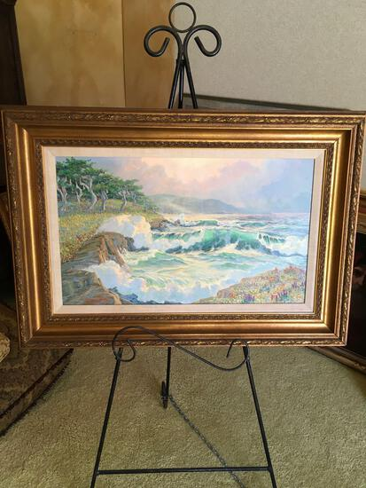 """Framed wall art, approximately 28"""" x 40"""""""