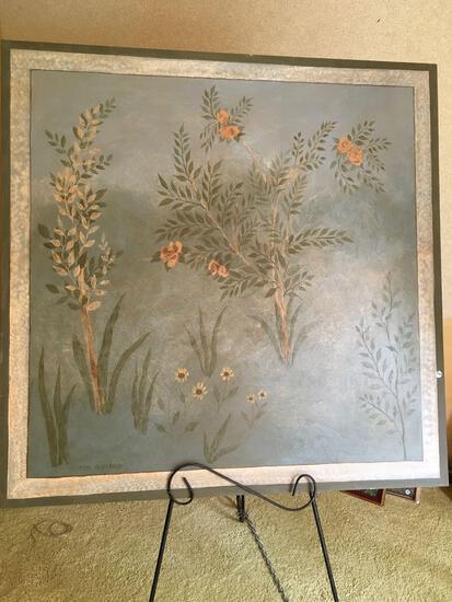 "Signed Jeri Alvarado, oil canvas, framed wall art, approximately 48"" x 48"""