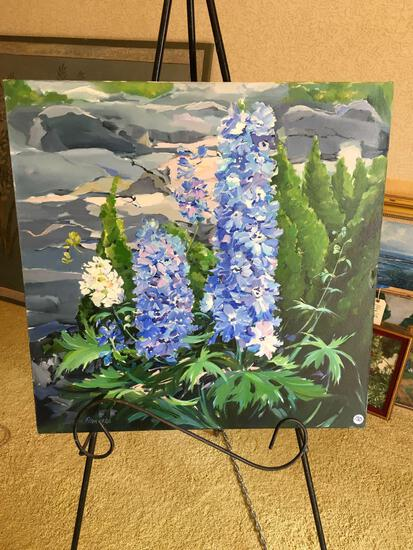 """ Delphinium"", signature Susan Flanders , oil on canvas framed art, approximately 24"" x 24"""