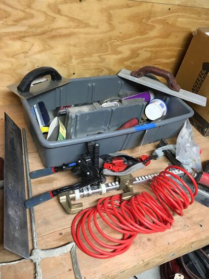 Misc tools. Trowels, mixing blade, tub bender, etc
