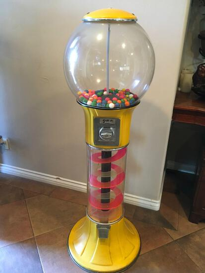 Beaver spiral 25 cent gum ball machine with keys and tray see pics