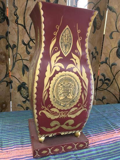"Decorative tin vase made in India approximately 18"" x 8"""