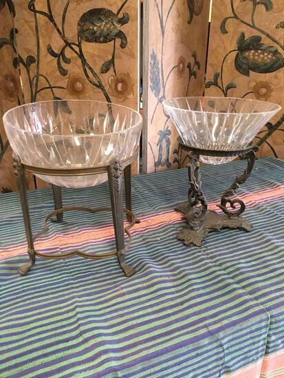 Vintage. Bowls with stands. Metal stands ( one says made in India) round glass top and v shape