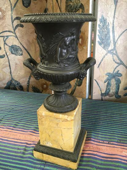 """Heavy, Decorative Metal and marble candle holder. 14"""" x 6"""""""