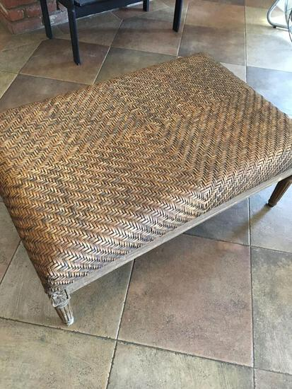 """Wood bench with soft top knitting, approximately 17"""" x 39""""x 26"""""""