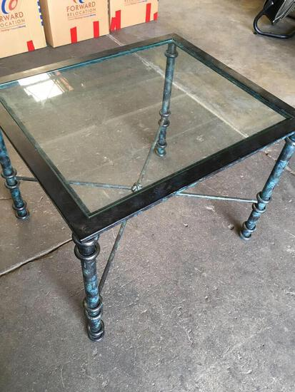 """Metal frame, glass top table, approximately 22"""" t x 28"""" w x 24"""" d"""