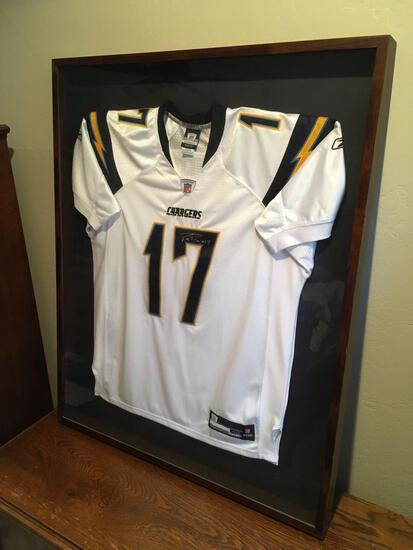 """San Diego Chargers QB Philip Rivers Signed Jersey - Framed 41"""" t x 33"""" w x 2"""" d"""