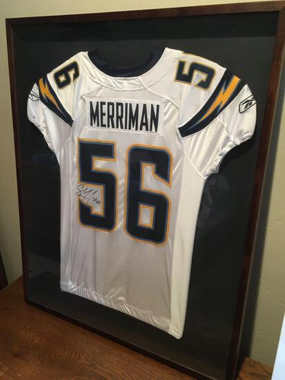 """San Diego Chargers Shawne Merriman Linebacker Signed Jersey - Framed 41"""" t x 33"""" w x 2"""" d"""