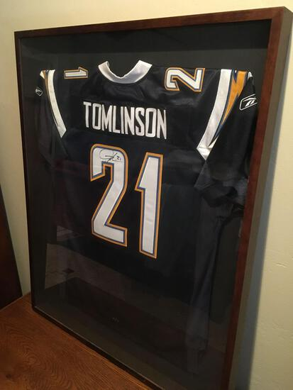 """San Diego Chargers LaDainian Tomlinson Running Back Signed Jersey - Framed 41"""" t x 33"""" w x 2"""" d"""