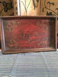"Banyan Tree Imports, antique handpainted Tibetan 22"" x 14 tray. Tag price $155.00"