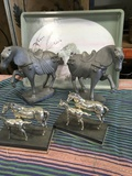 """5 pieces. Metal horse statue/ figurines & Alpac tray 18"""" x14"""""""