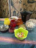 Lot Assorted items. Candles, candle stand, decorative bucket, etc