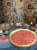 11 pieces. Assorted vintage items and Vietri made in Italy tray approximately 18