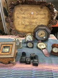 """Assorted clocks and Garcia Imports 24"""" x 17"""" tray . 10 pieces"""