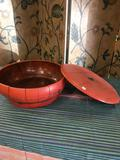 Wood, round storage box with metal accents approximately 6