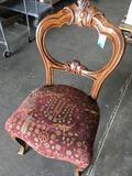 Red Vintage Accent wood frame chair approx 38