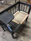 Vintage wood bench desk, soft seat, approximately 25