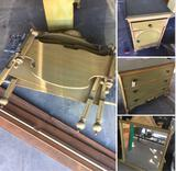 Vintage twin/full bed frame, side cabinet, mirror and three drawer amour with casters