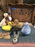 """Lot of assorted animal figurines & wood tray 15"""" x 20"""""""